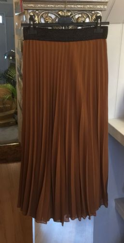 Pleated Maxi Skirt - Plain - Camel